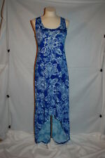 Womens BRIGHT BLUE FLORAL PRINT KNIT MAXI DRESS Sleevlss Tank HI-LOW Size M 8-10