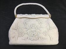 Vintage White  Beaded Bag Handbag Purse Clutch Floral Design *As-Is*
