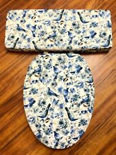 Blue Birds Floral Aviary Contemporary Bathroom Decor Toilet Seat Lid Cover Set