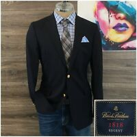 Brooks Brothers Mens Navy Blazer Sport Coat Wool Jacket 39L Gold 2 Button Italy