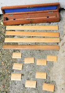 NO RESERVE Original Stanley Boxed Wood Ruler Set Vintage Antique