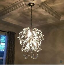 Pottery Barn Bella Round Crystal Chandelier Pendant Pewter Light Tree Branches