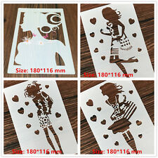 4 Pcs Packed Fashion Girl Cookie Cake Stencil Decorate Mold Fondant Biscuit Tool