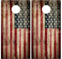 Pair Of Old American Flag Distressed Wood Cornhole Board Vinyl Decal Wrap Wraps