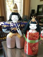 "Couple Emperor Empress Hina-Ningyo Japanese Vintage Traditional Doll H.11""/001"