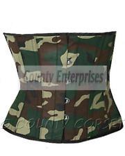 Cincher Shaper Waspie Steel Bone Waistbust Army Military Green Camouflage Corset