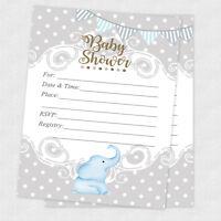 20 Boy Elephant Baby Shower Elephant Invitations Boy Invites Cards Polka Dot