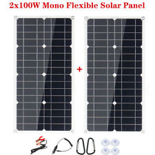 2 Pack 200W 18/12V Mono Solar Panel Dual USB DC Flexible For RV Car Charger Boat