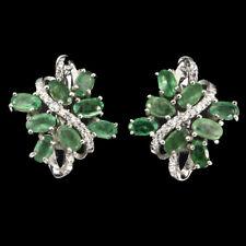 Natural GEM Transparent TOP RICH Green Emerald ,W. Cz 925 Silver HUGGIE Earrings