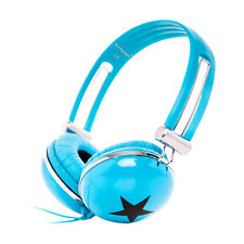 Stars Childrens Kids Overhead DJ Headphones Earphones Laptop Notebook PC / Blue
