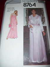 SIMPLICITY #8764 - LADIES SATIN NEGLIGEE - NIGHTGOWN & ROBE PATTERN  14 & 16 uc