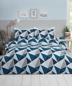 Navy Shapes Duvet Cover Leo Geometric Triangles Reversible Duvet Quilt Cover Set