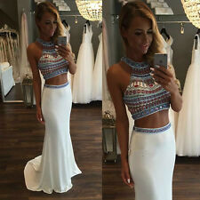 Chiffon Beaded Prom Gown Homecoming Evening Party Two Piece Pageant Formal Dress