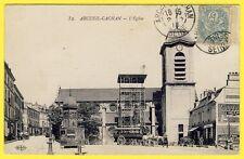 cpa RARE 94 - ARCUEIL CACHAN L' ÉGLISE Attelage CORBILLARD Café VEYSSIÈRE