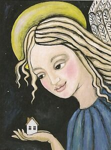 ACEO PRINT OF PAINTING XMAS ANGEL HOUSE ABSTRACT FOLK RYTA HEALING ENERGY GIFT