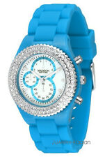 Madison New York Unisex Damen Uhr Silikon m.Steinen HELL BLAU KLEIN CHRONO OPTIK