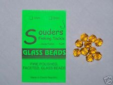 8mm Round, Faceted, Fire Polished Glass Beads - Amber