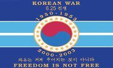 """Freedom Is Not Free"" Korean War Commemorative Flag 3x5 ft Korea Veteran Isn't"