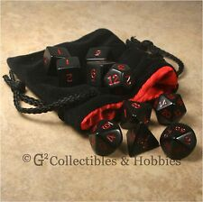 NEW 10 BLACK w RED Numbers D&D RPG Game Dice Set & Black Velvet Bag Satin Lining