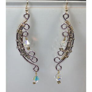 Designer Wire-Wrapped Earrings with Swarovski Crystals
