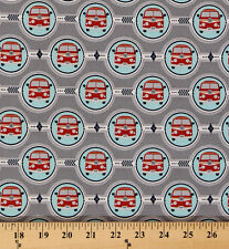 Cotton Bus Red Buses in Sky Blue Circles Cotton Fabric Print by Yard D486.31