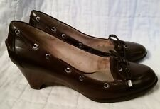 Sperry Top-Sider Brown Leather Wedge Shoes Heels Decorative Lacing Sz. 8.5 M EUC