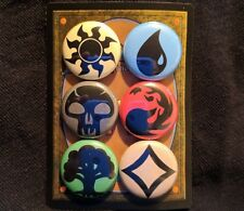 "MTG Mana Symbol 1"" Pinback Button Pin Set of 6 MAGIC THE GATHERING TCG CARD GAME"