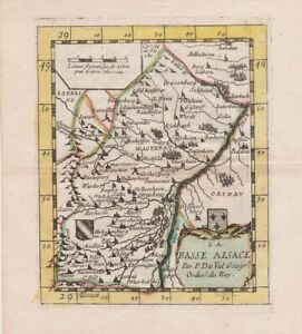 1661 Original Colour Duval Map of Lower Alsace, France