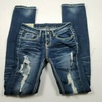 Machine Nouvelle Mode Skinny Jeans Womens Size 0 Mid-Rise Distressed Blue Denim