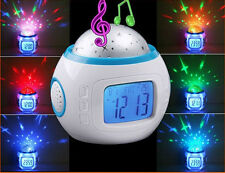 LED Sky Star Night Light Projector Music Alarm Clock with Time Date Thermometer