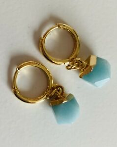 18k Gold Plated Natural Green Aventurine Crystal Gemstone Huggie Hoop Earrings