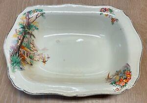 Vintage J & G Meakin England Sunshine Cream Dish Plate Bowl Flower Garden Design
