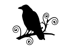 POE RAVEN ON BRANCH Vinyl Decal Car Wall Window Sticker CHOOSE SIZE COLOR