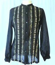 Vintage Oscar De La Renta Sheer Shirt Blouse Top w Embroidery sz 12