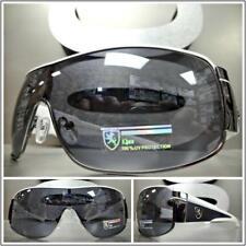 96f5bcebf0 Hombre Moderno Envoltura Escudo Estilo Gafas de Sol Blanco y Negro Marco
