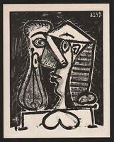 PABLO PICASSO LITHOGRAPH w/COA 1956 Exclusive print COMPOSITION HEAD 2. RARE ART