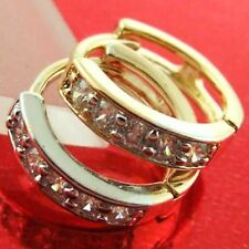 HOOP HUGGIE EARRINGS 18K YELLOW WHITE G/F GOLD DIAMOND SIMULATED STYLE FS3AN474