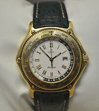 Ebel Voyager Automatic World Time GMT 18k Yellow Gold White Dial Watch #8124913