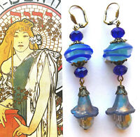 Great GIFT! Vintage Style EARRINGS Rolled Glass Hand Painted Flowers OOK #1973