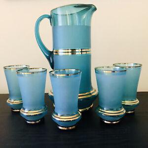 Vintage Blue Frosted Glass Water Lemonade Jug and Glasses - Water Jug Set