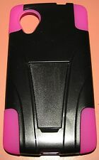 2 part Hybrid case with kickstand  for Google LG Nexus 5 D820, Black and Pink