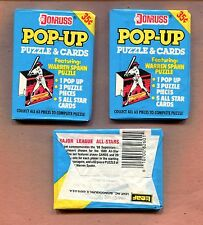 1989 DONRUSS POP-UP BASEBALL PUZZLE & CARDS 3 UNOPENED PACKS
