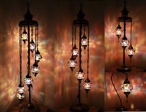Beautiful 1/3/5/7 Muti Colour Ball Turkish Moroccan Glass Light Floor/Table Lamp