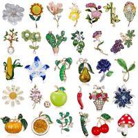 Fashion Women Men Crystal Pearl Plant Flower Brooch Pin Wedding Bridal Jewellery