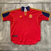 Vintage Spain National Team Soccer Red Adidas Jersey Mens Size XL World Cup