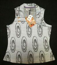NWT Jamie Sadock women's black/gray Paradise print sleeveless golf shirt Sz S