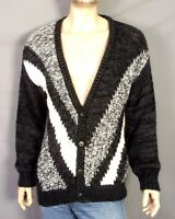 vtg 80s 90s Peter England Hand Made Bulky Knit Cardigan Sweater Chevron sz M