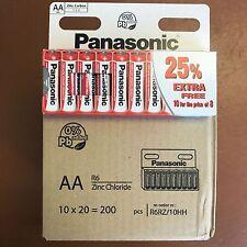 200 x AA Genuine Panasonic zinco carbonio Batterie-NUOVO R6 1.5 v Scadenza 11/2019