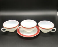 Rare 3 Vintage 1950's PYREX Teacups Cup Raspberry White Milk Glass & Saucer