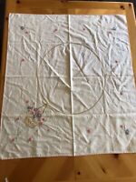 """Vintage Rectangular Linen Embroidered Tablecloth 35"""" x 32 1/2"""", Off White & Pink"""